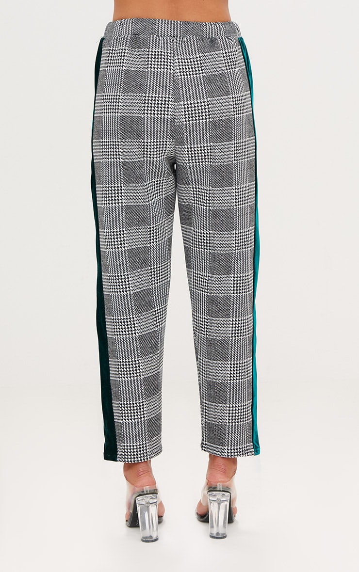 Grey Check Contrast Panel Trousers 4