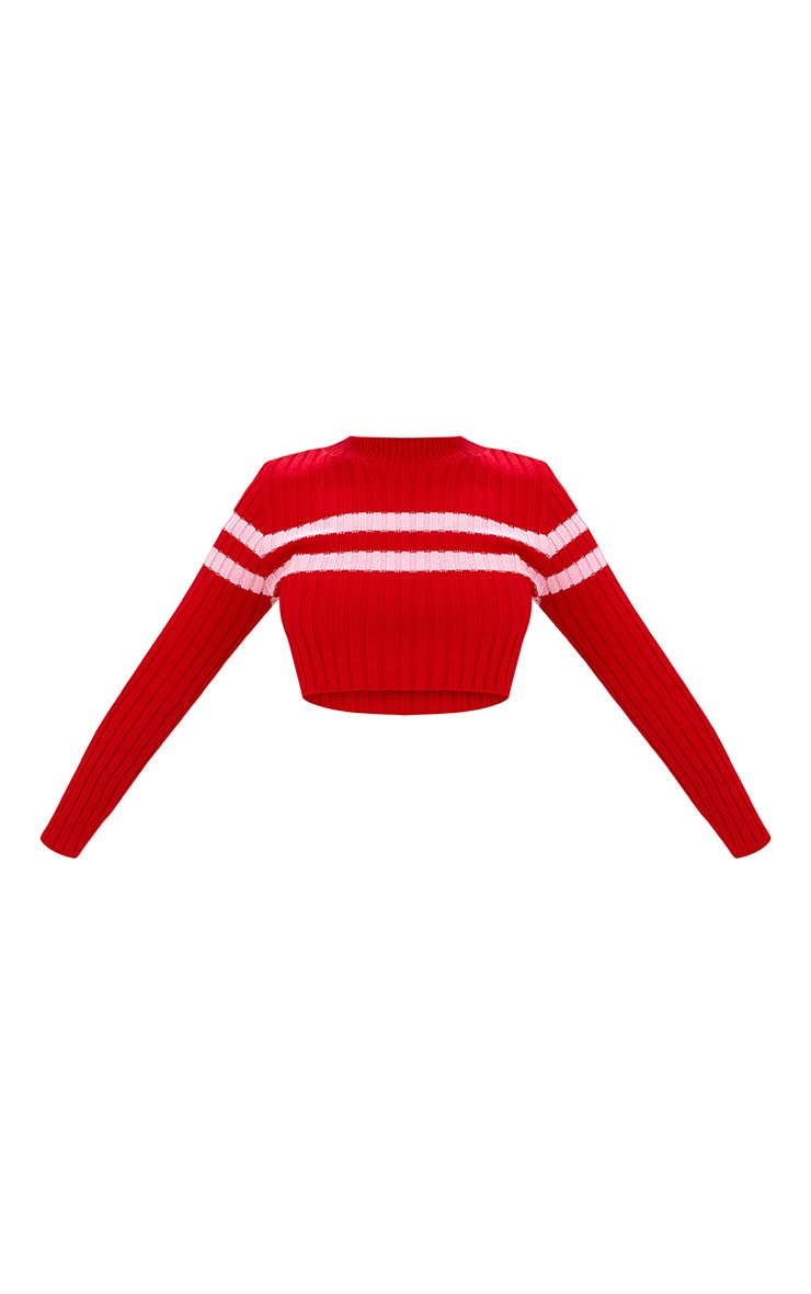 Red Stripe Detail Cropped Knitted Jumper 3