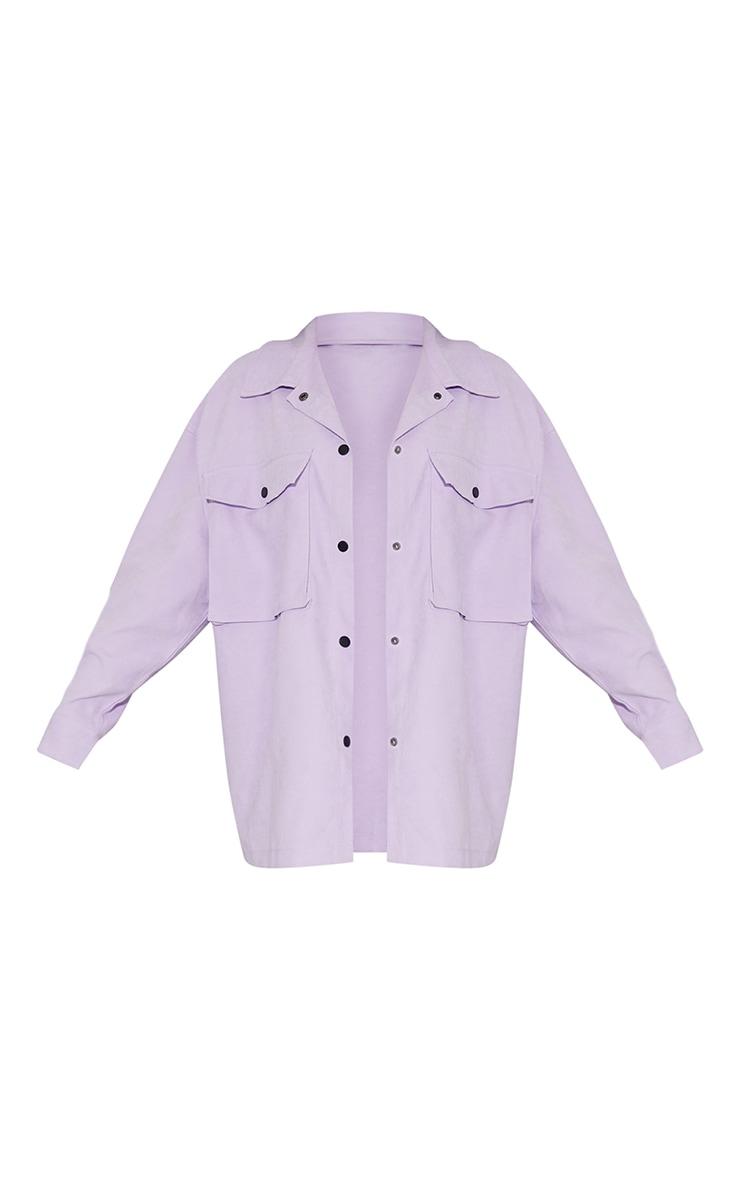 Lilac Twill Pocket Detail Oversized Boxy Shirt 5