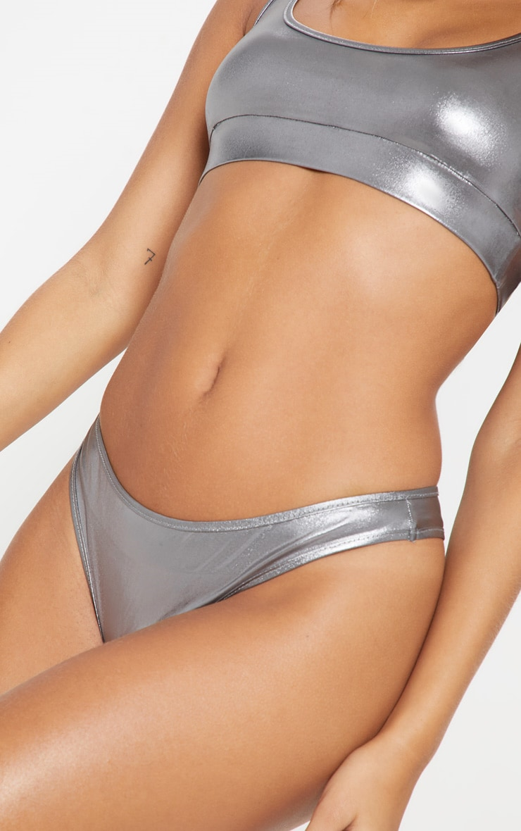 Gunmetal Metallic Thong Bikini Bottom 5