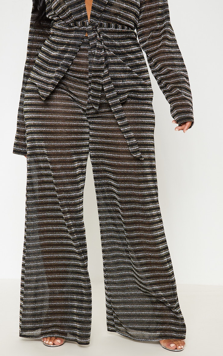 Black Glitter Stripe Wide Leg Trouser 3