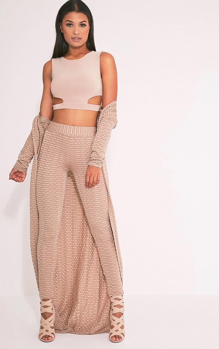 Aleccia leggings taille haute gris pierre en maille gaufrée 2