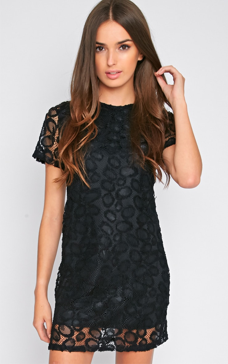 Kate Black Floral Lace Shift Dress 4