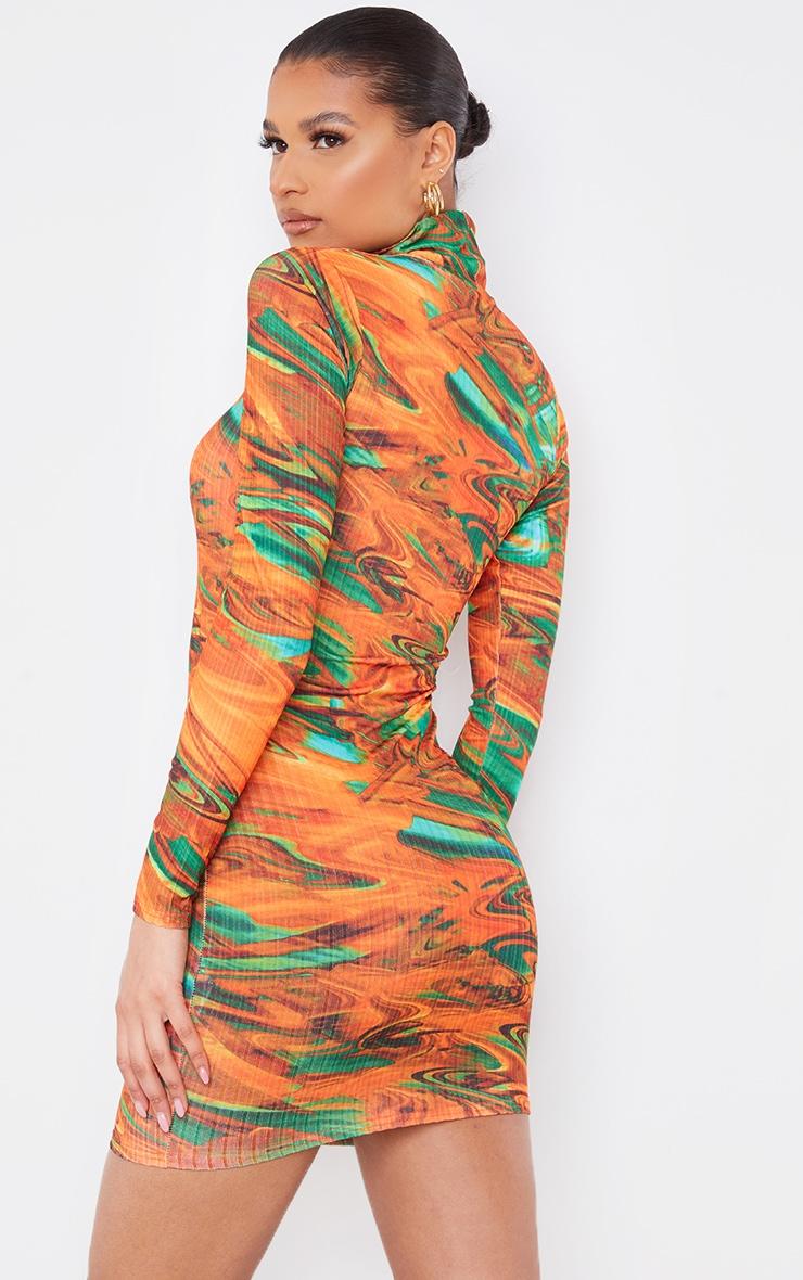 Orange Abstract Print Ribbed Long Sleeve High Neck Bodycon Dress 2