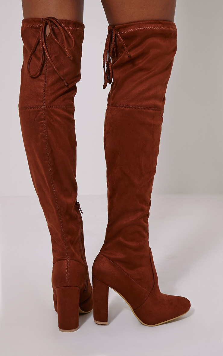 Lorda Tan Faux Suede Over The Knee Boots 2