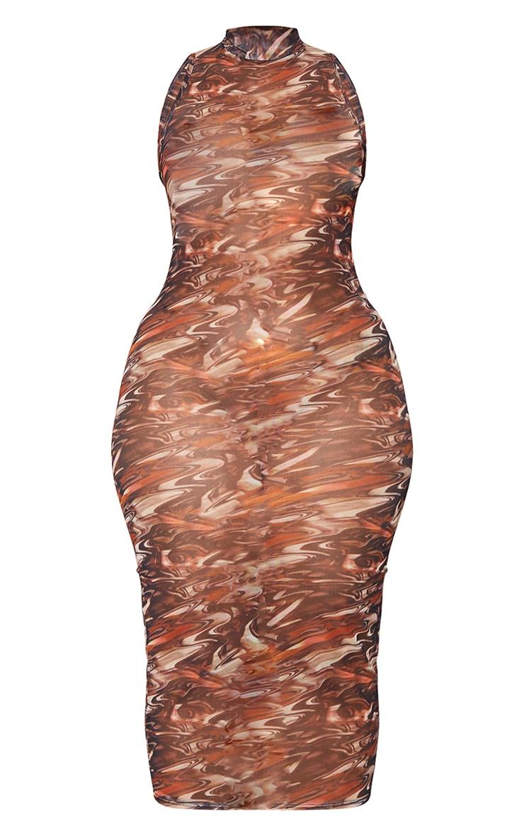 Plus Brown Abstract Print Mesh Midaxi Dress 5