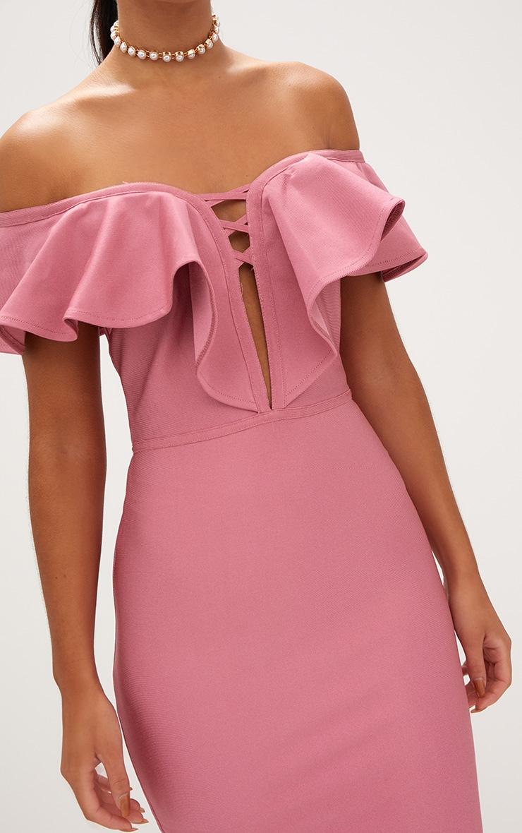 Rose Bardot Frill Lattice Detail Midi Dress 5