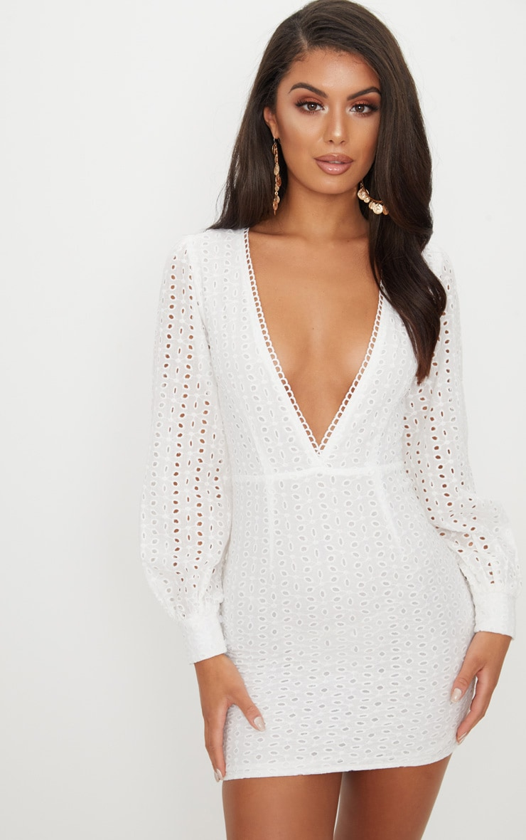 White Crochet Lace Puff Sleeve Bodycon Dress 1