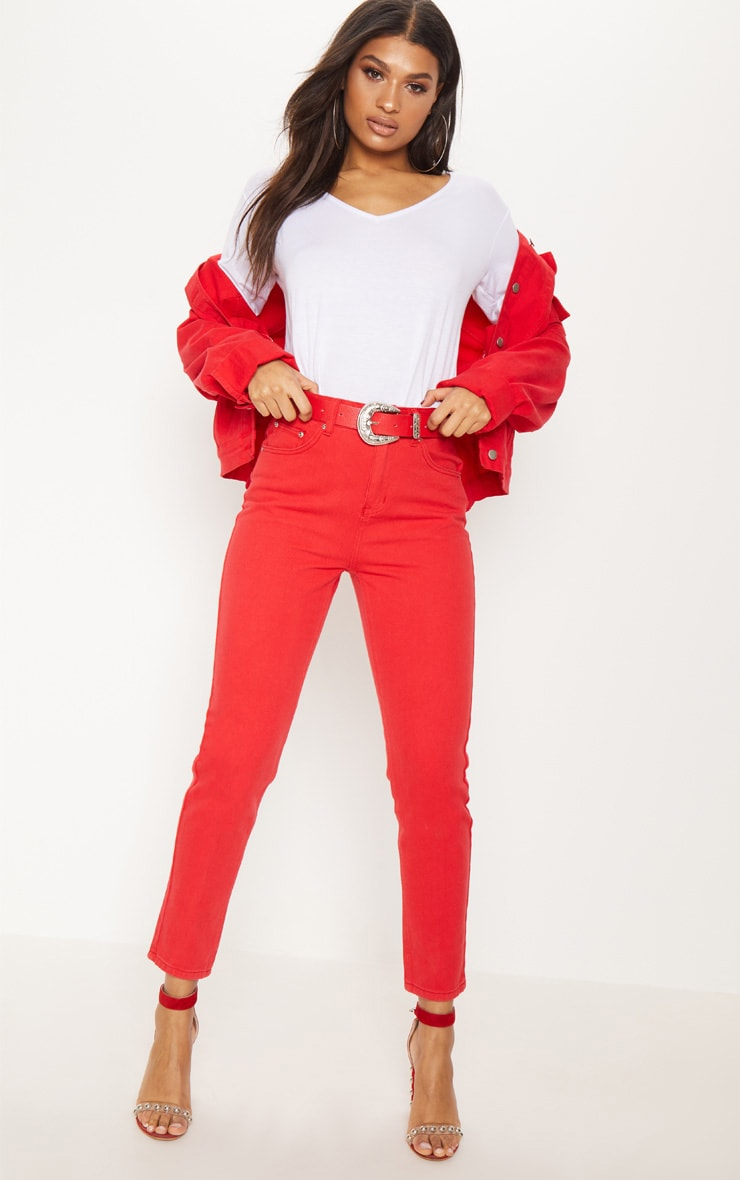 Red Mom Jeans 1
