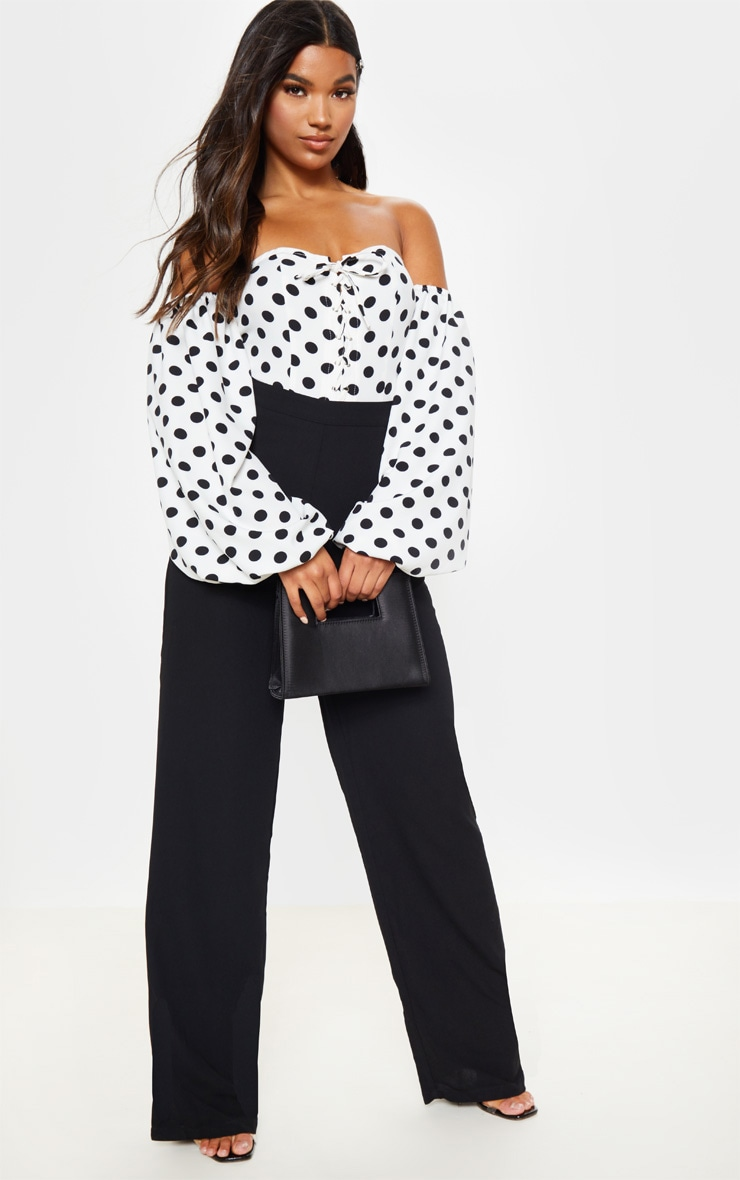 Mono Polka Dot Printed Lace Up Bardot Puff Sleeve Bodysuit 4