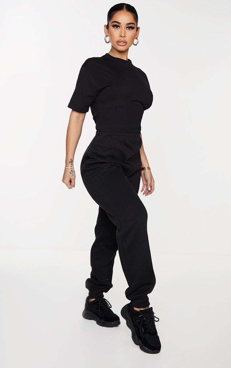 Shape Black Corset Detail Short Sleeve Sweat Jumpsuit 3