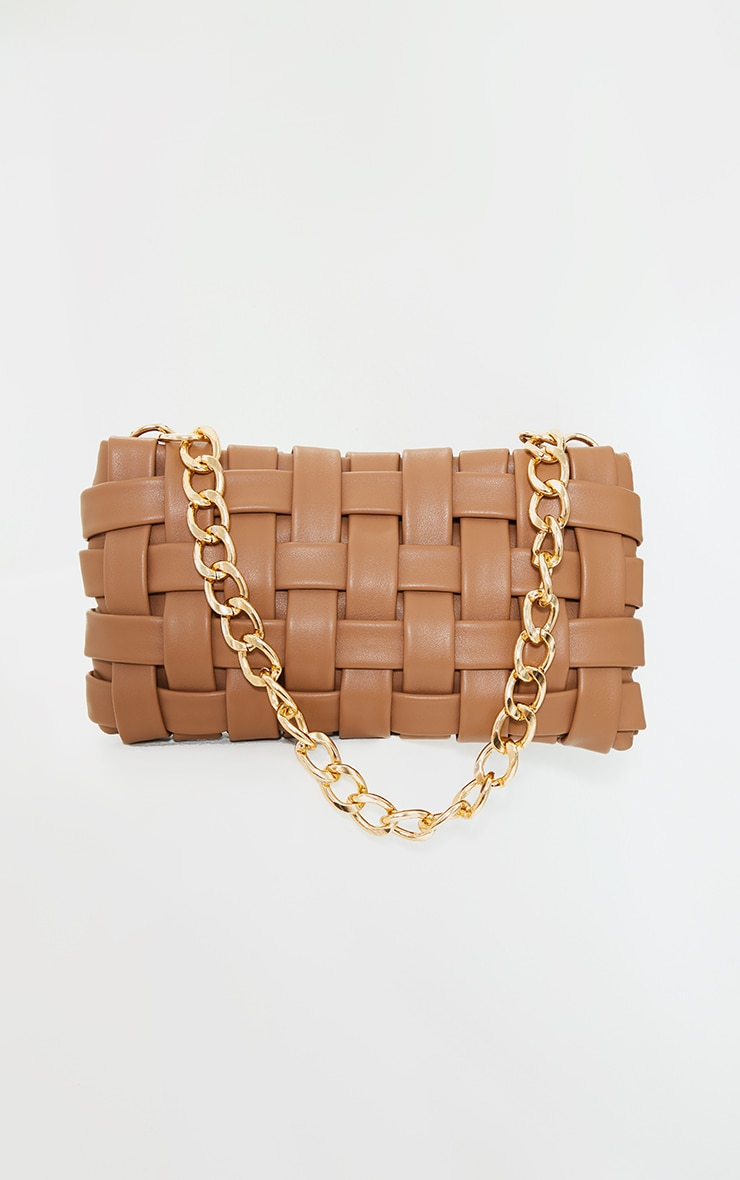 Tan Oversized Weave With Gold Chain Shoulder Bag 2