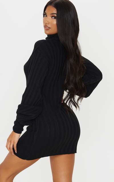 Black Roll Neck Ribbed Knitted Jumper Dress