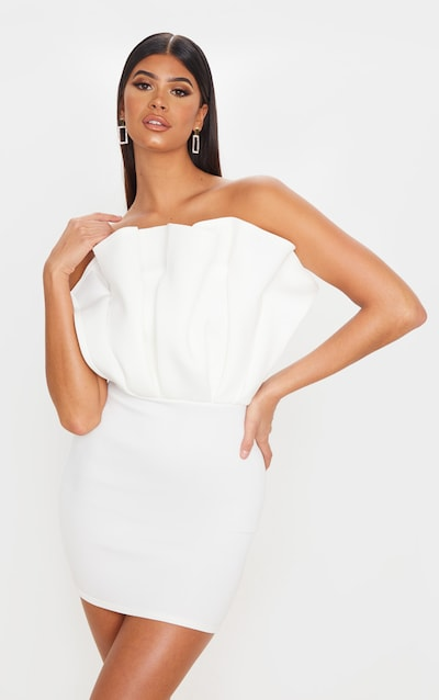 White Scuba Bandeau Pleated Detail Bodycon Dress