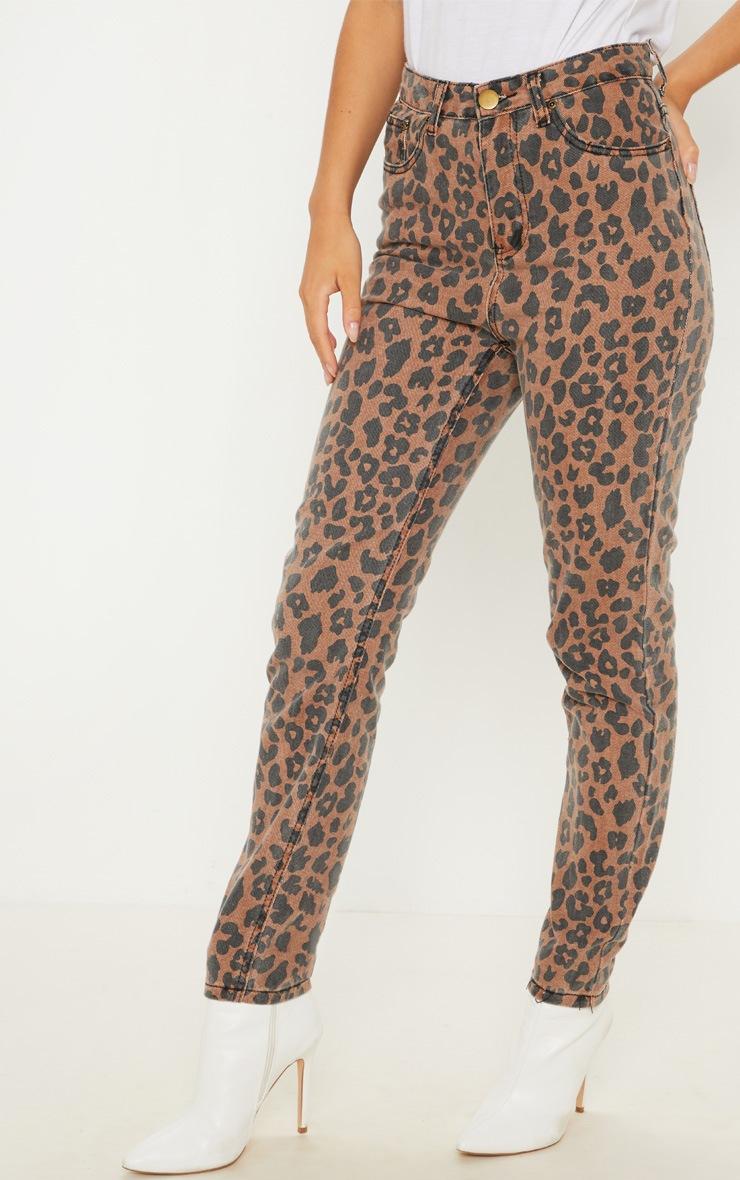 Brown Leopard Print Mom Jean 2
