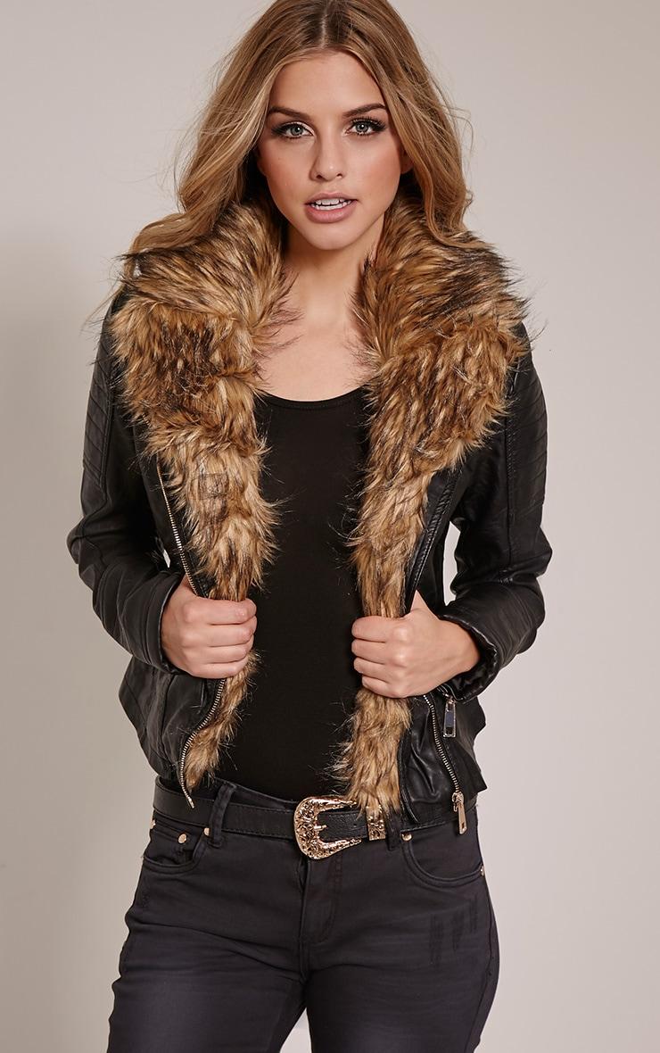 Lorra Black Faux Fur Collar Faux Leather Biker Jacket 1