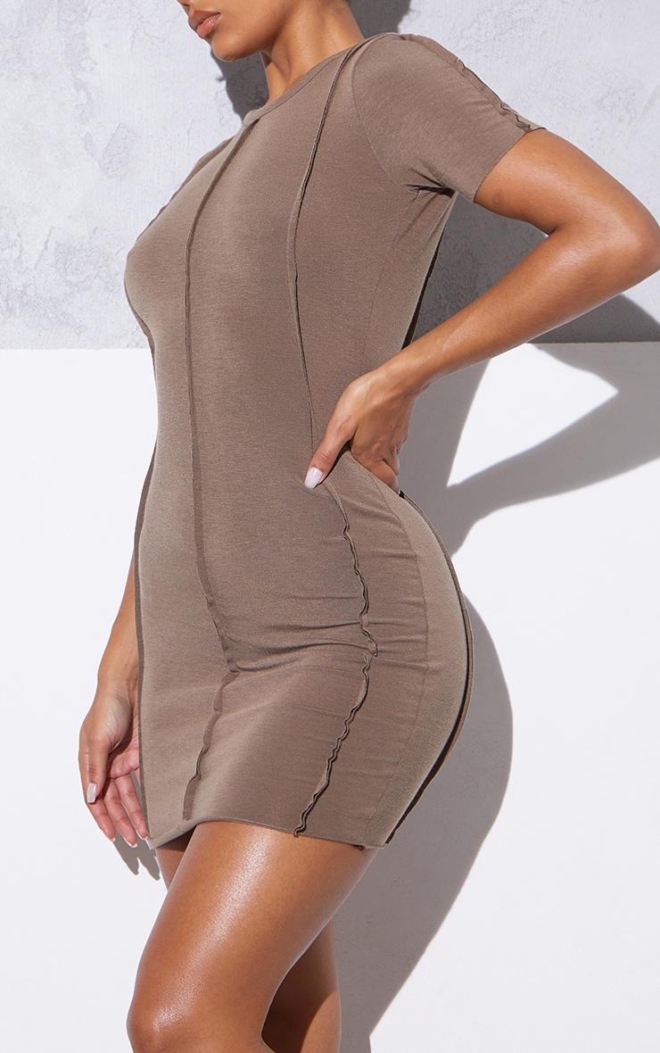 RENEW Light Chocolate Jersey Raw Seam Short Sleeve Bodycon Dress 4
