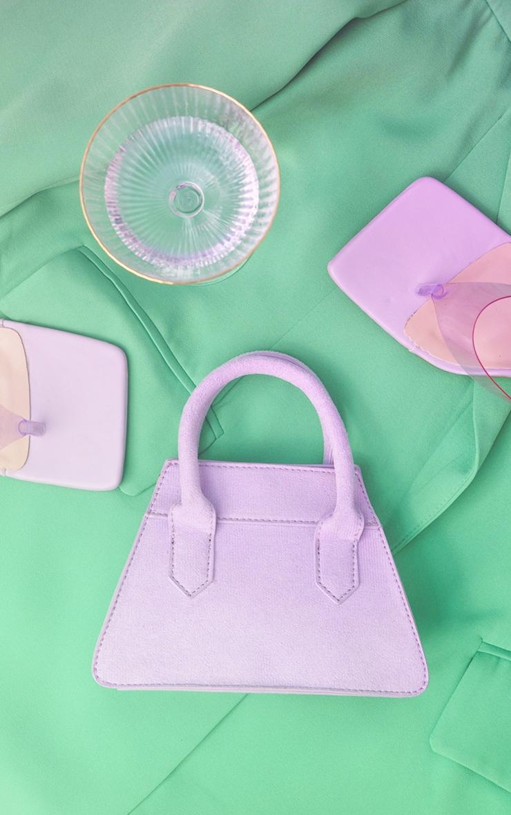 Lilac Faux Suede Triangle Mini Bag 1