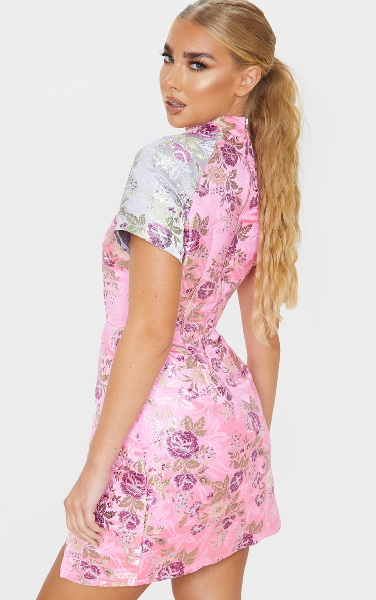 Robe moulante fendue à imprimé style asiatique rose  2