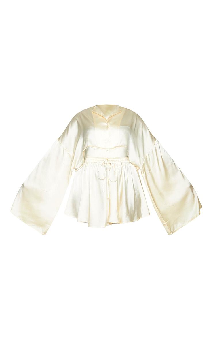 Plus Cream Cropped Long Sleeve Short Satin PJ Set 5
