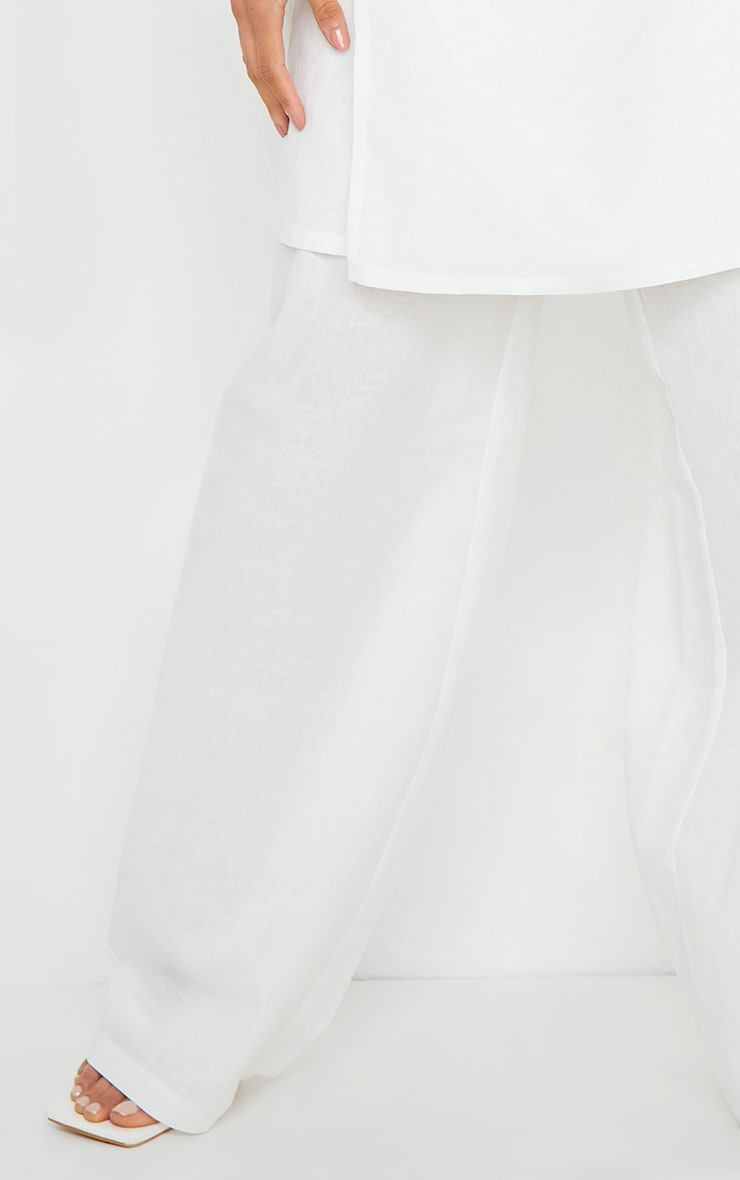White Woven Wide Leg Pants 4