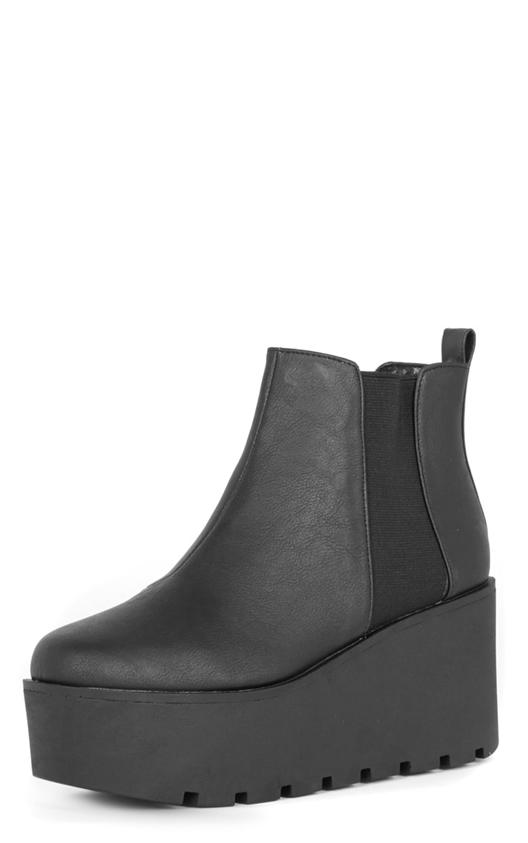 Kasey Black Leather Wedged Boot  4