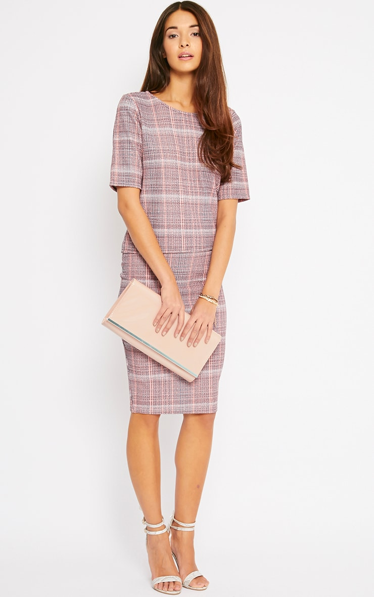 Cleo Coral Checked Top  5
