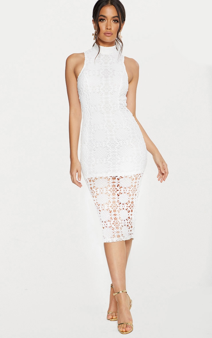 White High Neck Lace Midi Dress 1