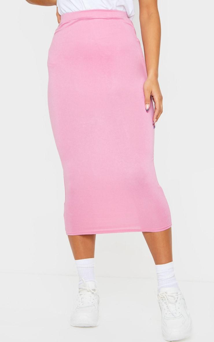 Dusty Pink Ultimate Jersey Longline Midi Skirt 2