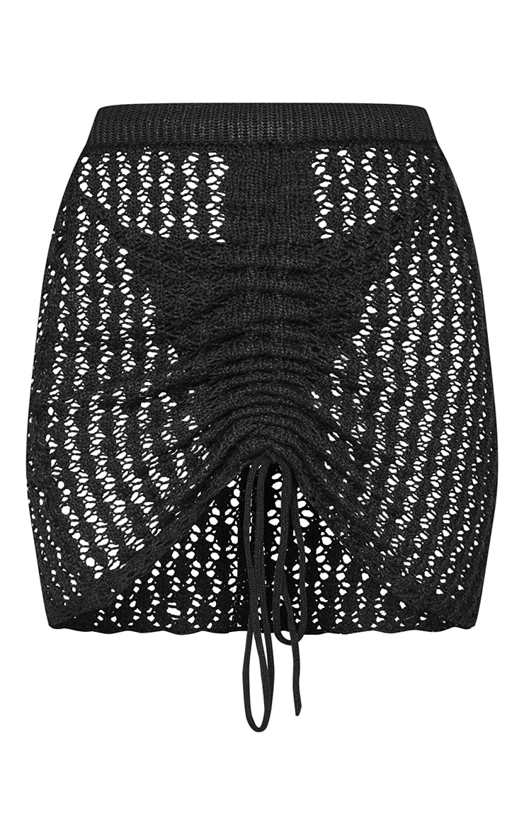 Black Crochet Ruched Front Knitted Mini Skirt 6