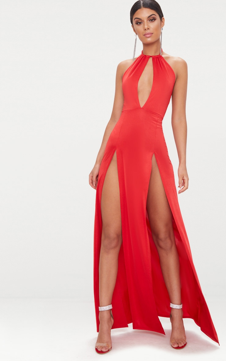 Red High Neck Cut Out Detail Extreme Split Maxi Dress 1