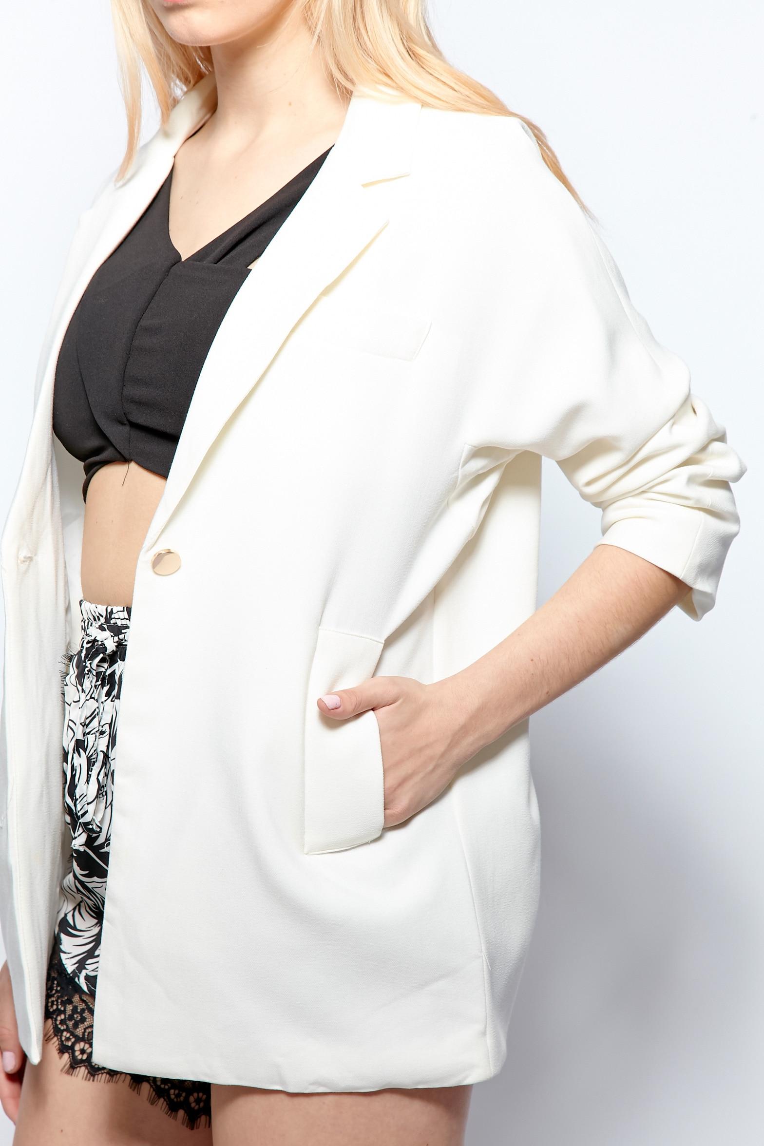 Giselle White Premium Longline Blazer 5