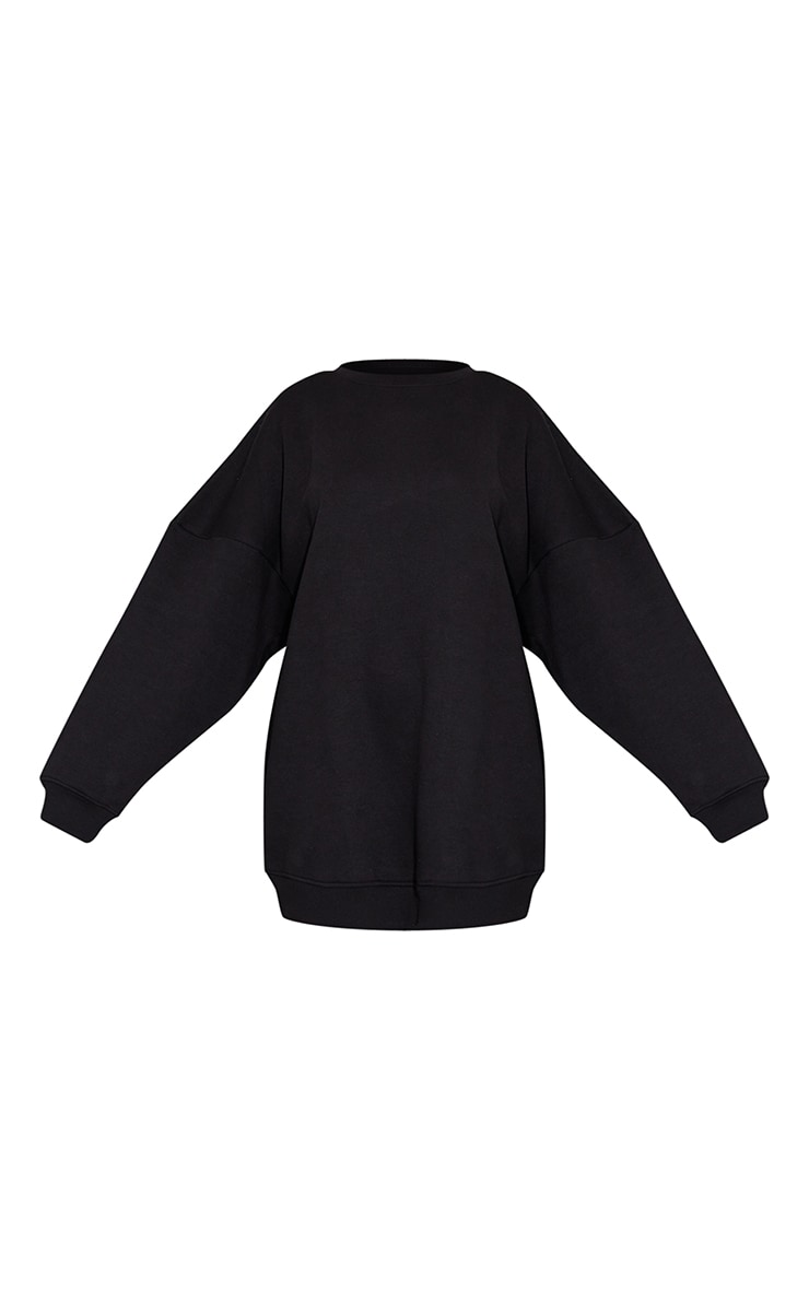 Black Drop Shoulder Oversized Sweat Jumper Dress 5