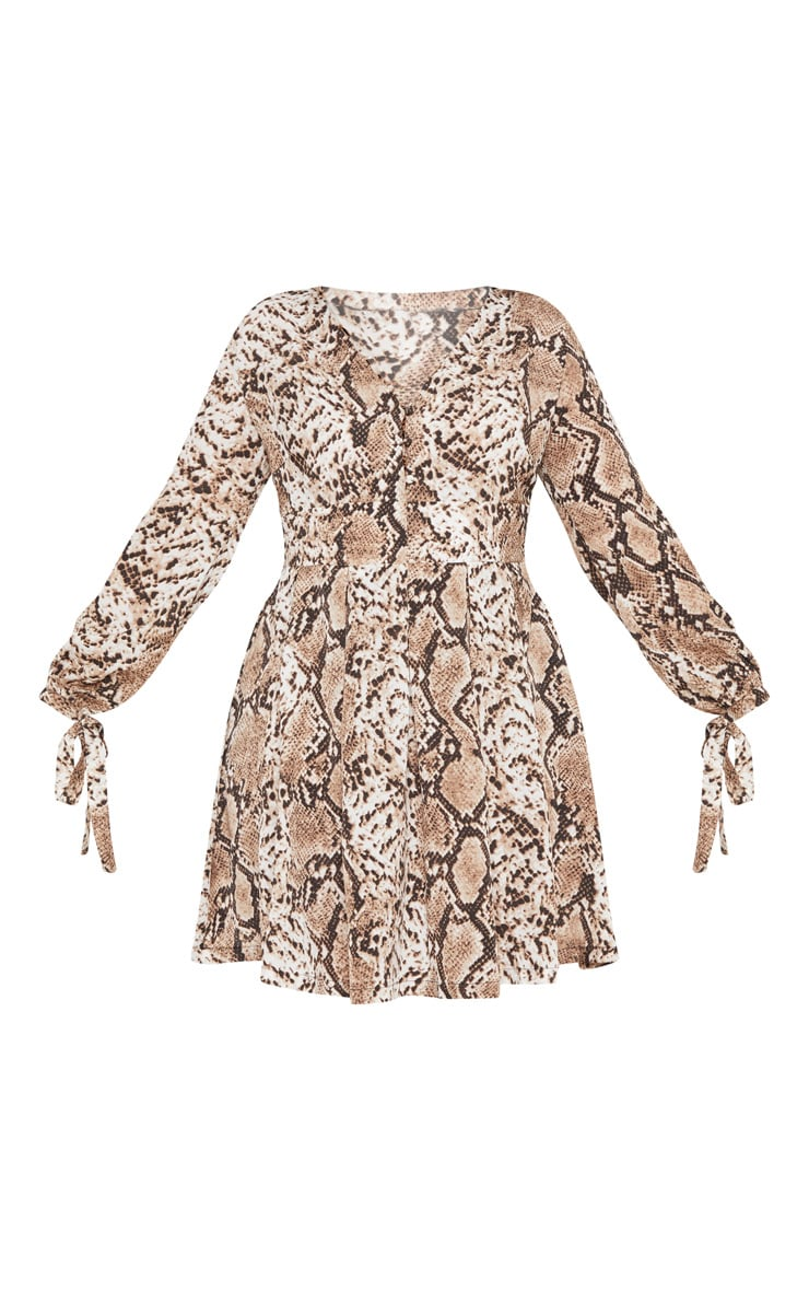 Plus Snake Print Taupe Button Detail Swing Dress 3