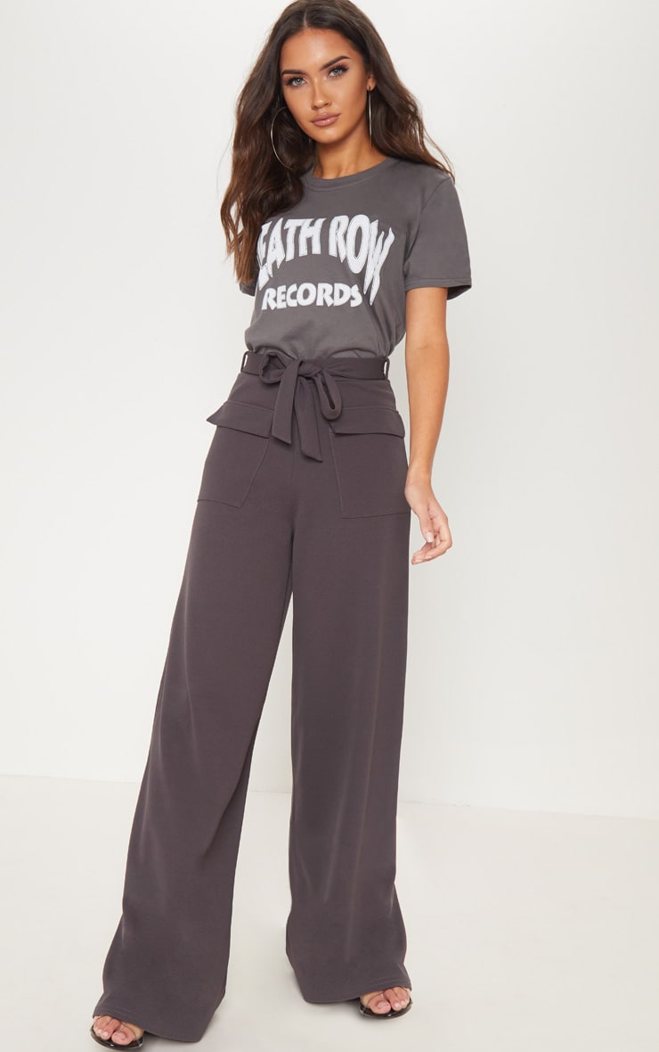 Charcoal Grey Front Pocket Wide Leg Trouser