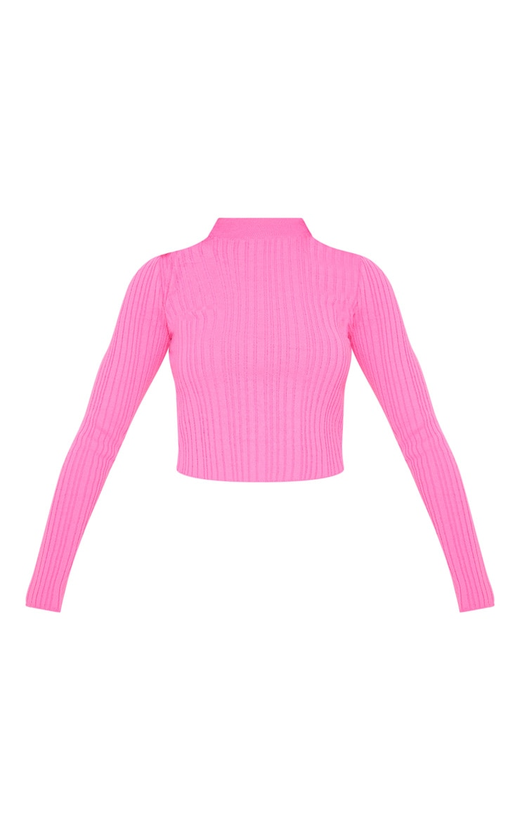 Hot Pink High Neck Knitted Rib Top 3