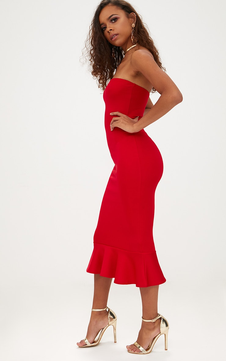 Petite Red Frill Midaxi Dress 4