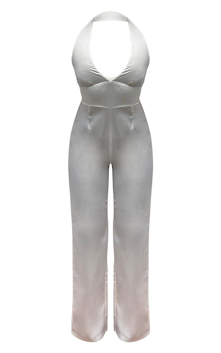 White Satin Halterneck Wide Leg Jumpsuit 5