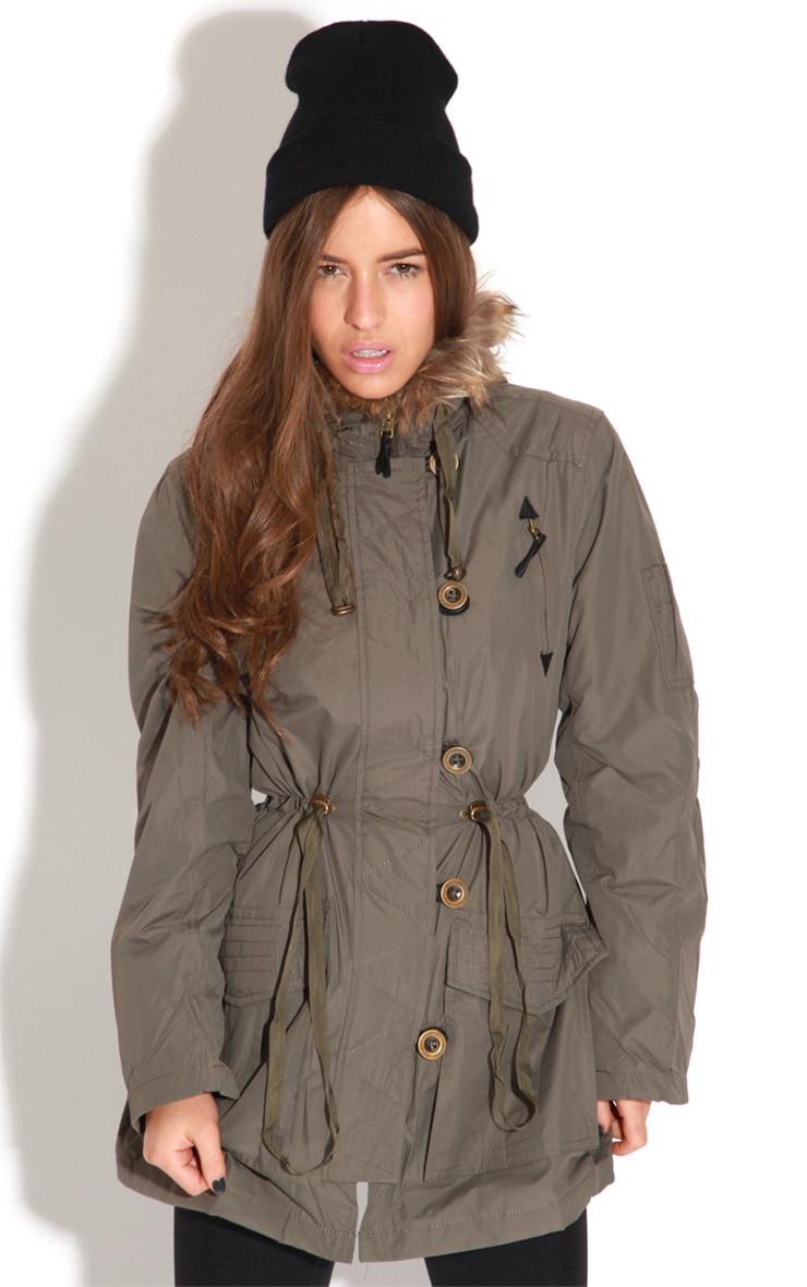 Heena Khaki Fur Lined Parka Coat  5