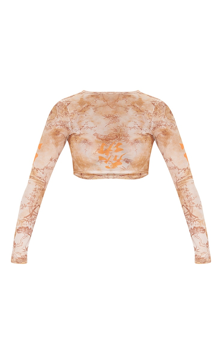 Orange Tie Dye Printed Mesh Long Sleeve Crop Top 3