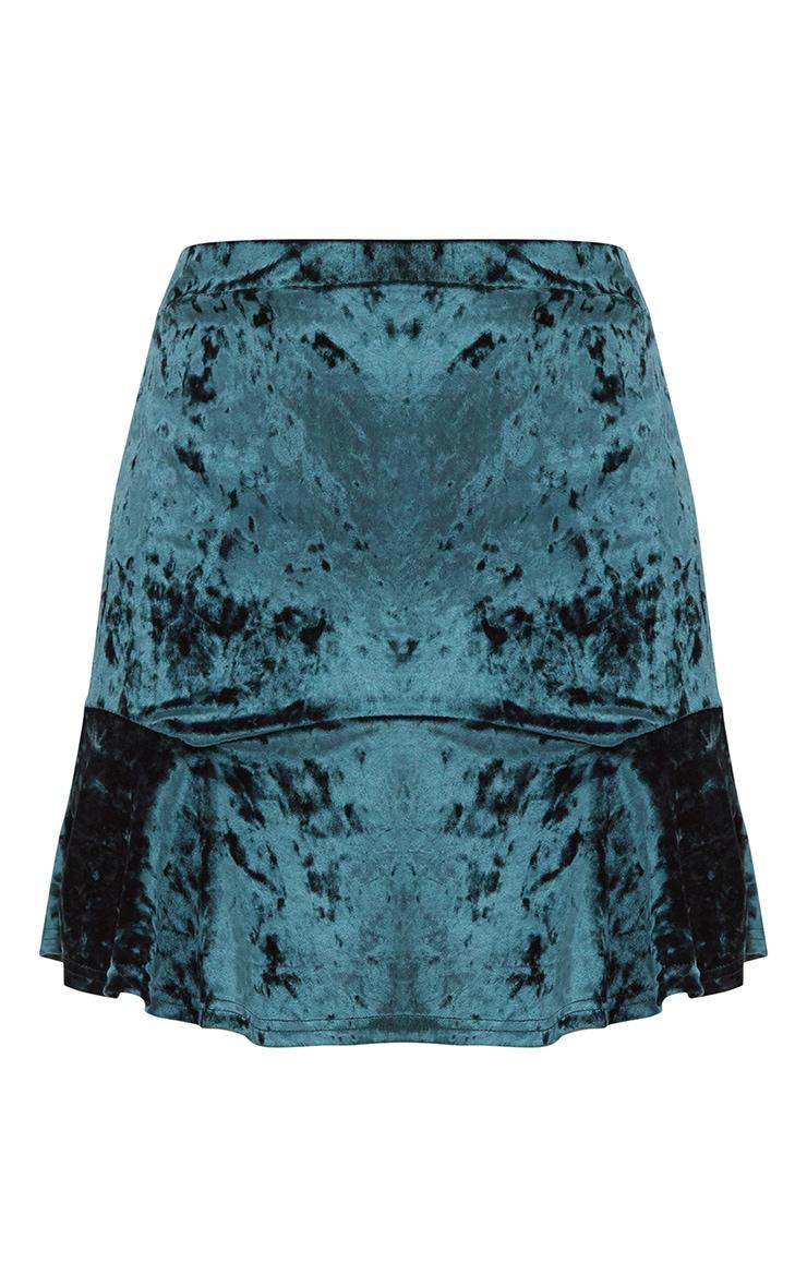 Emerald Green Velvet Flippy Hem Mini Skirt 3