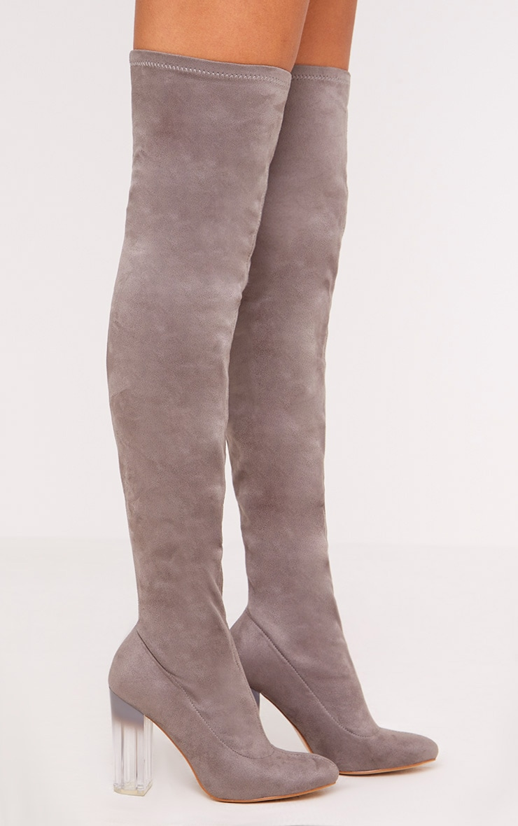 Fran Grey Faux Suede Ombre Heel Over The Knee Boots 3