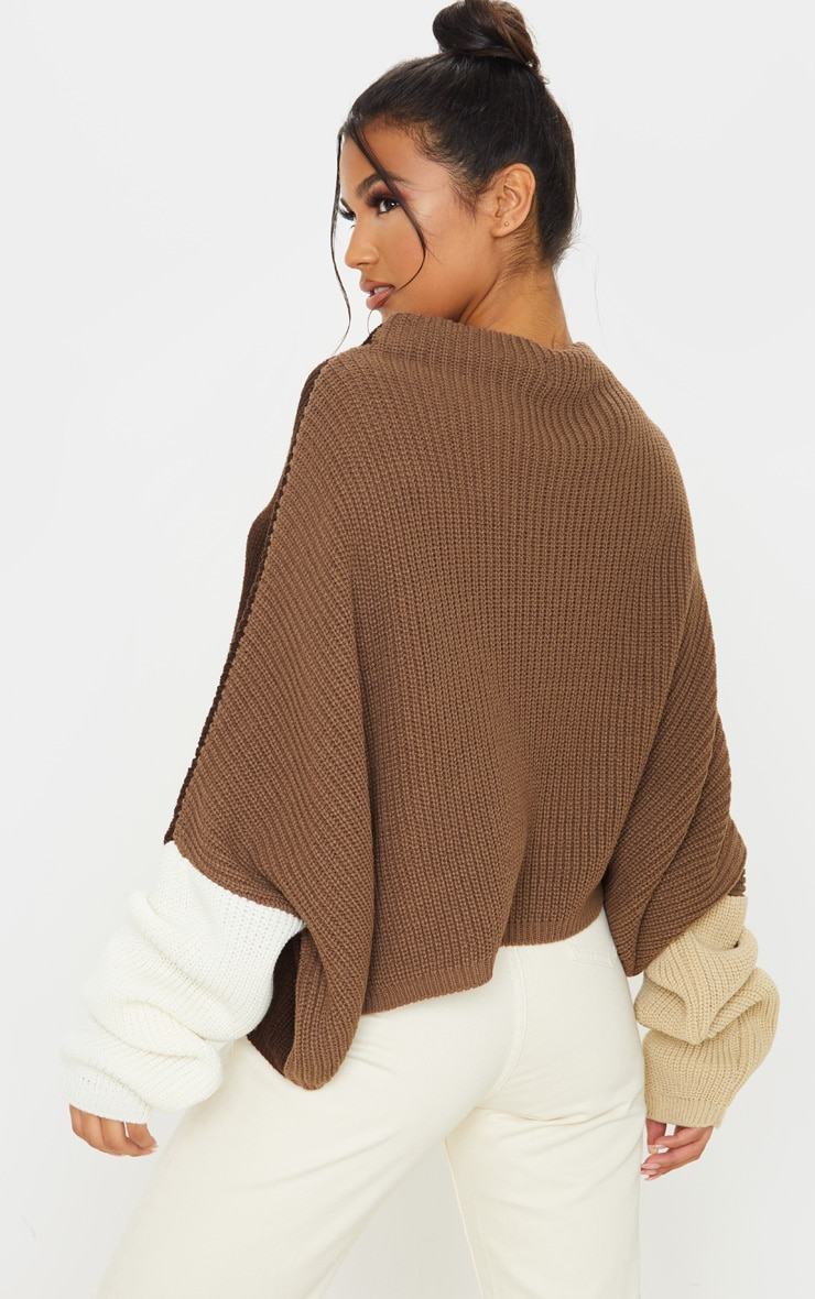 Brown Oversized Colour Block Sweater  2