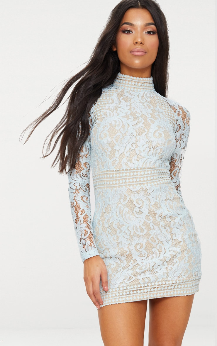 Isobel Dusty Blue Lace High Neck Bodycon Dress 1
