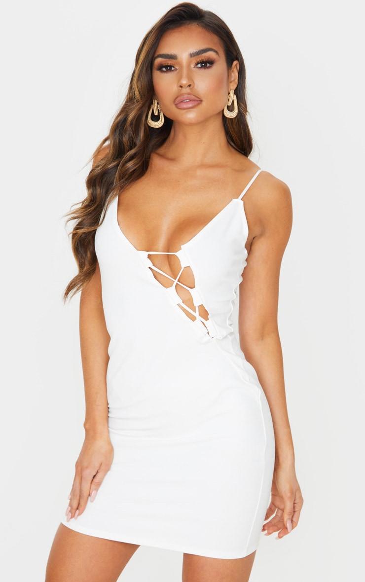White cut out trim detail asymmetric bodycon dress