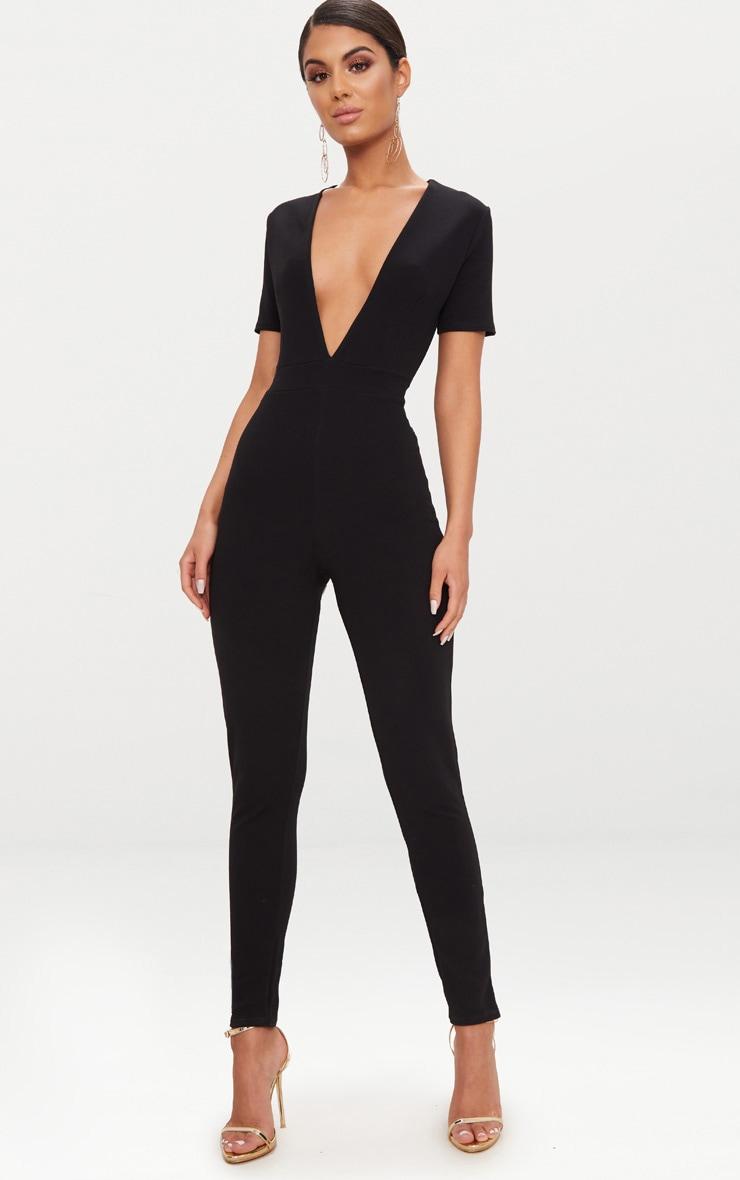 05e910478f0 Black Short Sleeve Plunge Jumpsuit image 1