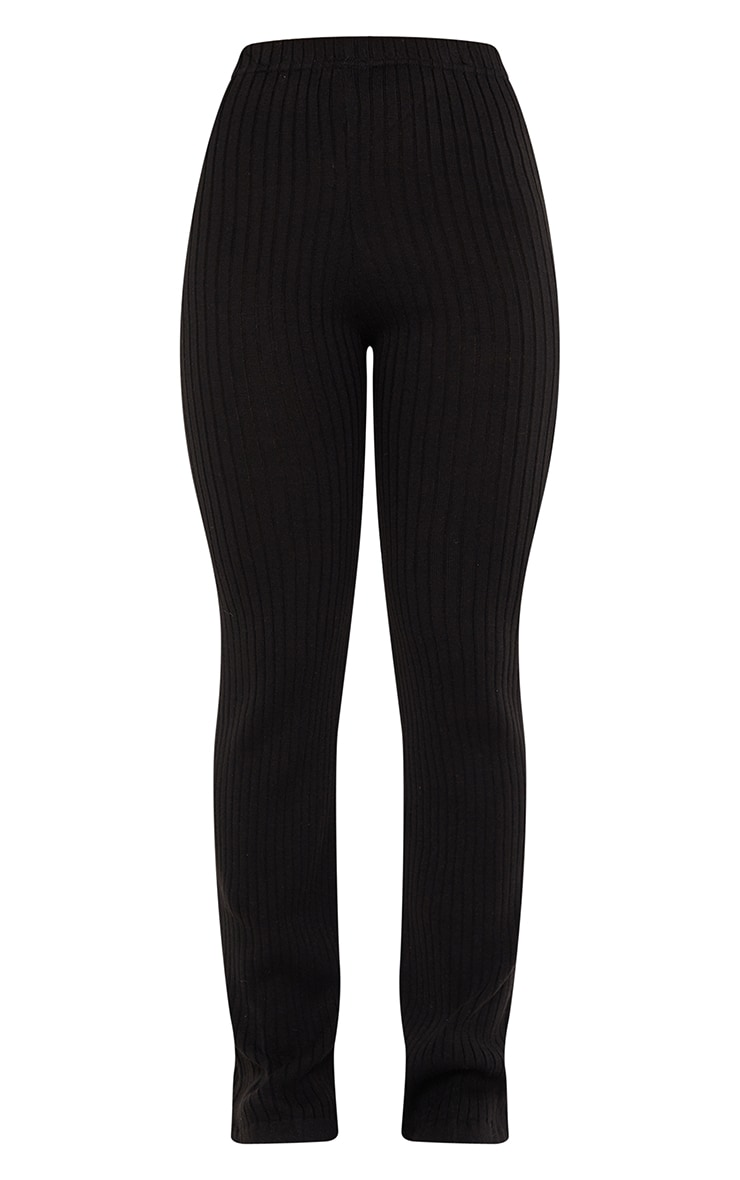 Black Ribbed Knitted Flare High Waisted Trouser 5