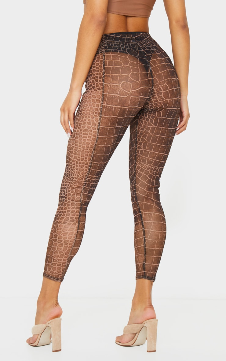 Brown Croc Mesh Seam Detail Legging 3