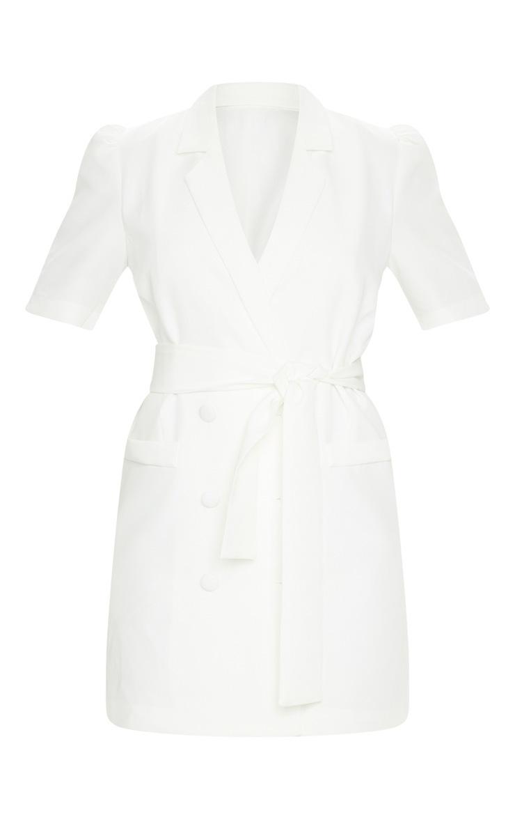 White Short Sleeve Tie Waist Blazer Dress 5