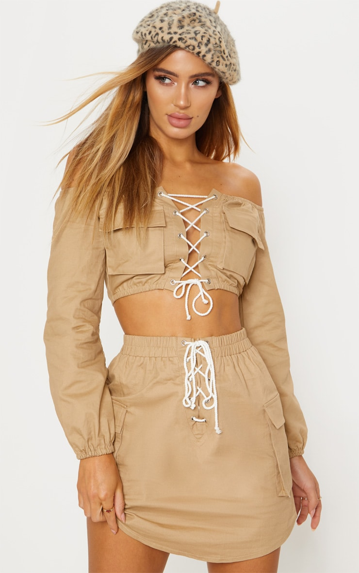 Stone Cargo Lace Up Crop Top 2